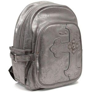 Miss Me Metallic Faux Leather Cross Backpack Bling